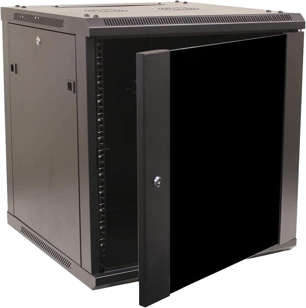 FerruNet12U Cabinet Rack Enclosure Glass Door Lock,Wall Mount Network Server 600mm Depth,ApplytoNetworkWiringRoom,ComputerRoom,DataRoom,ControlCenter,Home,Office,etc.
