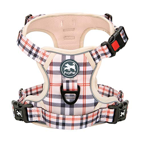 PoyPet Plaid Dog Harness, No Pull Front Clip Pet Vest Harness, Soft Padded Reflective Adjustable Walking Harness with Handle for Large Medium Small Dogs(Checkered Beige,M)