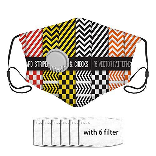 Hazard Stripes Chevron y patrones de tablero de ajedrez Barricade T Face Shield con 6 piezas de filtro compuesto, pañuelos faciales de moda