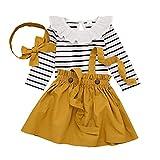 T TALENTBABY Ensemble de vêtements Robe (Jupe + Chemise) + Bandeau pour bébé fille -Noir/blanc - Motif floral à rayures -  Jaune -  100 cm (18-24 mois)