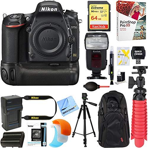Nikon D750 FX-Format 24.3MP DSLR Camera (Body Only) + Deluxe Power Battery...