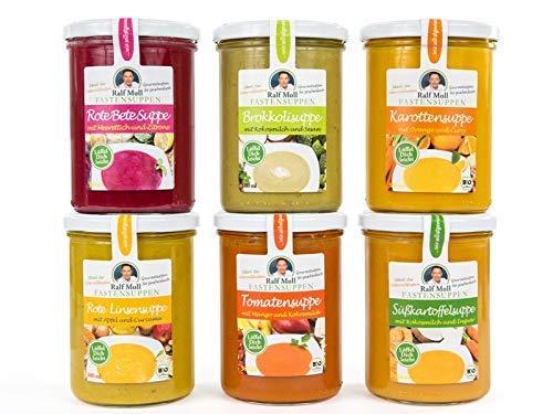 Intervallfasten mit Suppen Ralf Moll Fastensuppen | 6x380ml Bio-Suppen im Glas | Fastenkur Souping | Rote-Linsen Rote-Bete Tomate Karotte Süßkartoffel Brokkoli