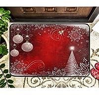 クリスマススノーフレークドアマット赤い雪片クリスマスツリーボールフロアドアマット屋外エントランスバスルームドアマット滑り止め洗える冬のホイルデーウェルカムマットマスの装飾40cm x 60cm