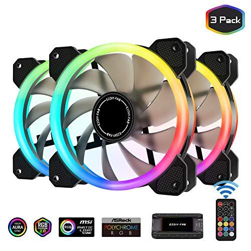 EZDIY-FAB - Ventilador de Doble Anillo RGB (120 mm, 5 V, Placa Base de Datos, Velocidad Regulable, Ventilador RGB, Sync con buje de Ventilador, 10 Puertos y Mando a Distancia)