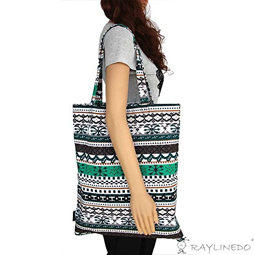 RayLineDo Eco-Friendly Resuable Large Multi Colour Bohemia Canvas DIY Crafts Carry-All Tote Bag Lunch & Grocery Shopping Bags Beach Bag Handbag 19x16 Inches