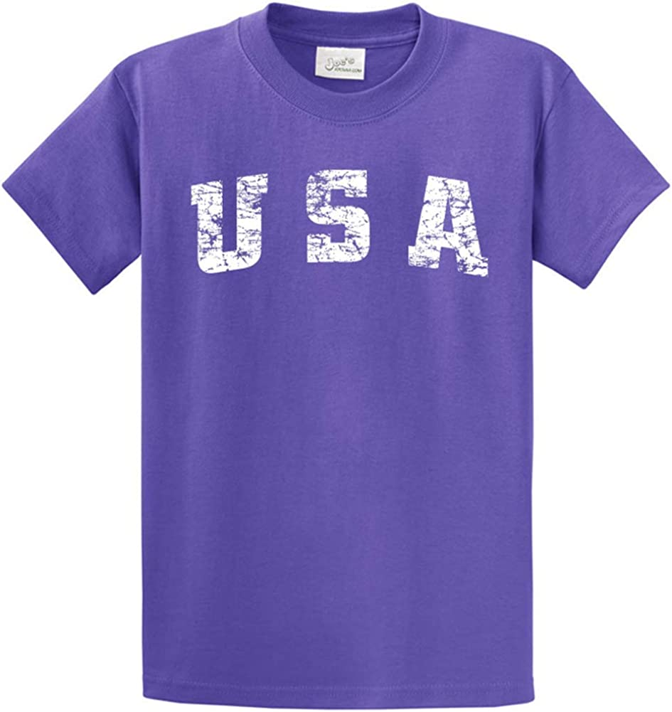 Joe's USA -Tall Vintage USA Logo Tee T-Shirts in Size 2X-Large Tall -2XLT Violet