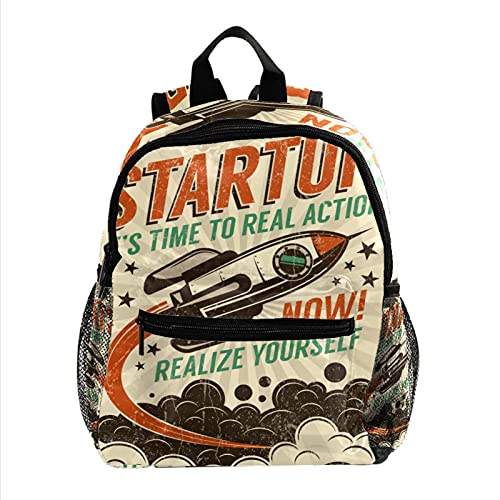 XiangHeFu Zaino piccolo per ragazze e ragazzi Outdoor Walk Travel Bag School Daypack Start up Take-off Rocket Retro Poster Zaino stampato