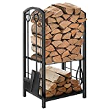 Hykolity Fireplace Log Rack with 4 Tools, Indoor Outdoor Fireside Wrought Iron Firewood Lo...