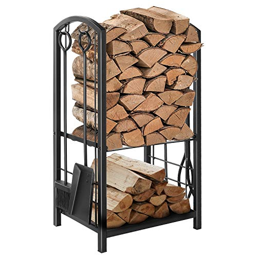 Hykolity Fireplace Log Rack with 4 Tools, Indoor Outdoor Fireside Wrought Iron Firewood Log Storage Rack Holder Set for Fireplace Tool