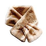 Baiyao 15 x 90 cm, bufanda de piel de conejo sintética, color sólido, cuello cálido, chal y calentador de hombros, 6 colores