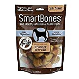 SmartBones SBPB-00212 Mini Chews With Real Peanut Butter 24 Count, Rawhide-Free Chews For Dogs
