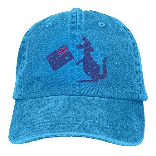Vidmkeo Australien-Flagge u. Känguru mit Einer Australien-Flagge in Seiner Hand Cowboy-Hip-Hop-Hut-hintere Kappe justierbare Kappe Multicolor71