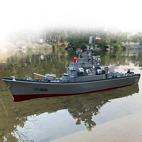 1:250 Scale Remote Controlled Warship Battleship Rc Ship 6.8km/h 4WD On Water Lakes Pools Exhibits Models for Boys Children 22.4' Inch