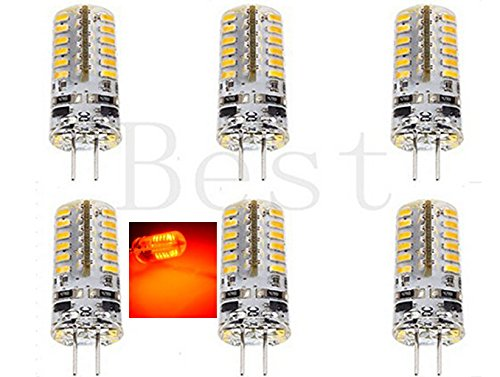 Best to Buy (6-PACK) Brightest 3-Watt G4 LED Bulb 12V AC/DC, 48 SMD 3014 LED, 3W Red Color (Jc10 Bi-pin 20W Replacement)