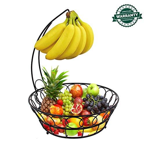 XNDCYX Canasta De Frutas con Gancho para Colgar Los Plátanos, Frutero con Soporte para Plátanos De Alambre De Metal, Fruteros De Cocina Estilo Vintage, Altura: 33CM