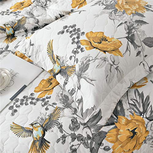 VITALE 3 Pieces King Size Bedspreads Coverlet Set,Vintage Floral Birds Quilts King with King Pillow Shams,Lightweight Bedspread Chinese Painting Co   untryside Blanket-Yellow White