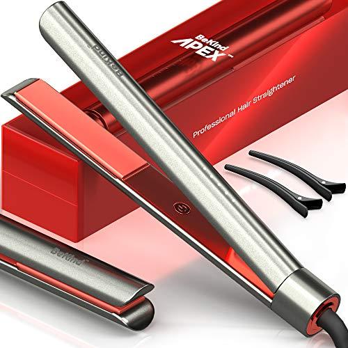 Bekind Apex 2-in-1 Hair Straightener Flat Iron, Straightener and Curler, Flat Iron for All Hair Styles, 15s Fast Heating, 5 Temperature Settings, Gift for Girls Women - Gray