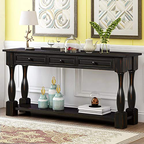 Knocbel 64 Inch Long Antique Entry Console Table with Drawers & Bottom Open Shelf, Solid Wood Sofa Couch Table for Entryway Hallway Living Room (Distressed Black)