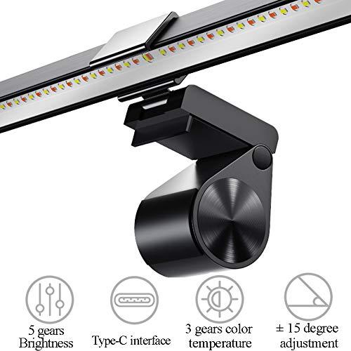 RLFDC Computerbildschirm Licht - Bildschirm Hängelampe, 5 Gänge Helligkeit Und 3 Farbtemperatur Einstellbar, Nein Schirm-Glare, Augenschutz, Aluminiumlegierung Lampen-Körper