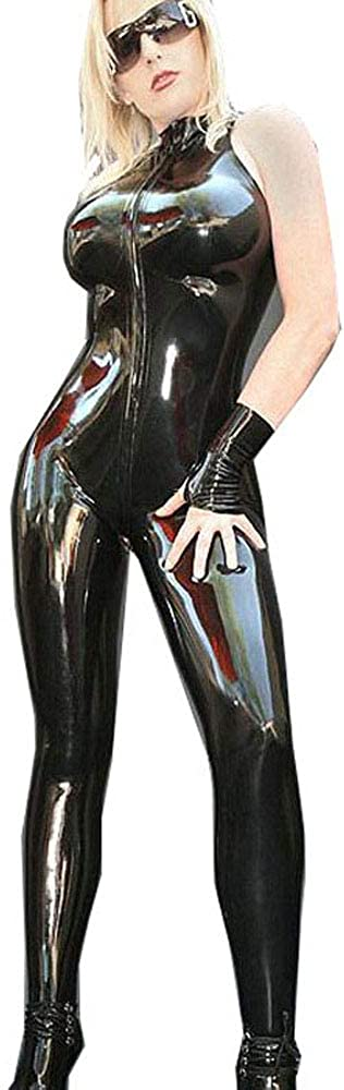 FASHION QUEEN Sleeveless Zip Max 69% OFF PVC Neck Japan's largest assortment High Catsuit Women Catwoma