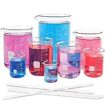 SUPERLELE 8pcs Glass Graduated Beaker Set 25 50 100 200 250 400 500 1000ml Glass Measuring Beakers with 4 Stirring Rods