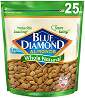 Blue Diamond Almonds Whole Natural Raw Snack Nuts, 25 Oz Resealable Bag (Pack of 1)