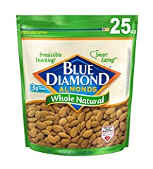 Contains 1 - 25 ounce bags of blue diamond whole natural raw almonds Whole natural blue diamond almonds are the best way to appreciate the flavor of the almond Perfect for snacking, they're also ideal for your favorite recipes 3 gram fiber, 0 gram tr...