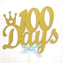 Hemarty 100 Days Cake Topper for 100 Days Birthday Party Birthday Gold Glitter Cupcake and Cake Topper Birthday Party for Baby ( Set of 2 )