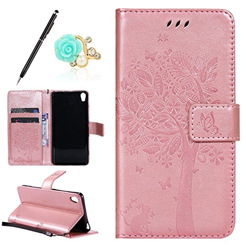 Uposao Kompatibel mit Sony Xperia XA Leder Tasche Schutzhülle Vintage Schmetterling Baum Katze Muster Brieftasche Handyhülle Ledertasche Lederhülle Bookstyle Handy Tasche,Rose Gold
