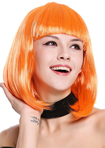 WIG ME UP - 0073-3-PC24 Perücke Damenperücke Karneval Longbob Bob schulterlang glatt Pony Orange