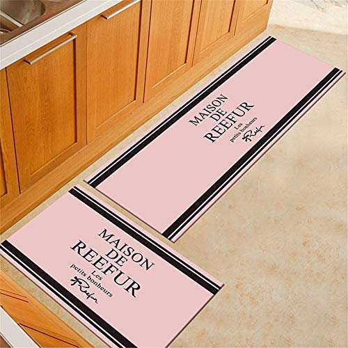 BJHSX-DD Rosa rutschfeste küchenläufer waschbar fußmatte Moderne einzigartige Druck Teppich abosrbent fußmatten Schlafzimmer Matte Bad Bereich Carpet 2 stücke 50 * 80 + 50 * 160 cm