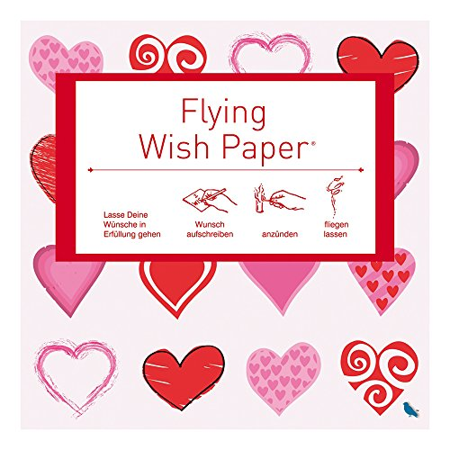 Flying Wishpapers Wish Paper Hearts Red mini
