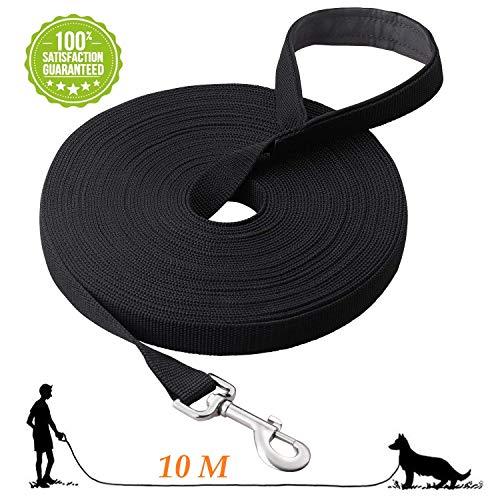 Fttouuy Schleppleine Hunde - 10m Übungsleine mit Gepolsterten Griff- Robuste Trainings Leine aus langlebigem Nylon - Laufleine für große & Kleine Hunde