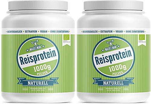 Maskelmän Bio Reisprotein mit 83% Proteingehalt - Veganes Eiweissprotein für Sportler (2 x 1000 g) | BESTE PREIS-LEISTUNG