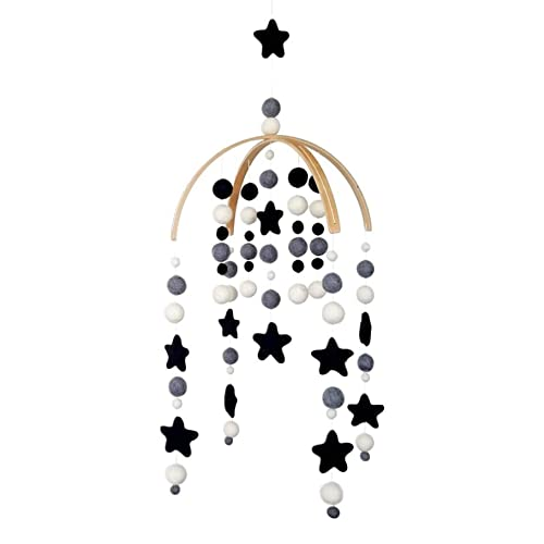 Baby Crib Mobile by Tik Tak Design Co – Felt Ball Mobile for Your Boy or Girl Babies Bed Room – 100% NZ Wool - Designer Colors to Match Your Nursery and Delight Your Child