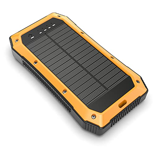 YODZ Cargador Inalámbrico Solar Power Bank 20000Mah Banco De Energía Portátil para Exteriores A Prueba De Agua con Entrada De Salida Dual Micro USB + Tipo-C (2.1A / 5V), para Camping, Viajes,Naranja