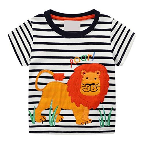 EU World Petit Garçon T-Shirt à Manches Courtes en Coton Rayé Dessin Animé Lion Modèle Mode Vêtements pour Enfants d'été 1-8 Ans Garçon(Noir et Blanc)
