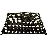 枕 大型そばがら枕/ドット・ブラック/43x63cm/ピロケース付き/日本製/中袋にもファスナー付。そば殻の高さの調節が便利です。 (ドットブラック)