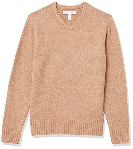 Amazon Essentials Men's Long-Sleeve Soft Touch V-Neck Sweater, Camel, Large