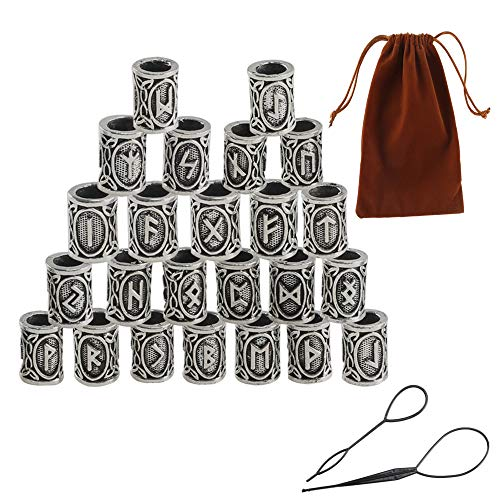 Vikings Runes Beads FOGAWA 27Pcs Norse Rings for Hair Beard Beads Silver Braiding Beads with Threading Tool and Pouch Norse Charm Findings for Bracelets Necklace Pendant