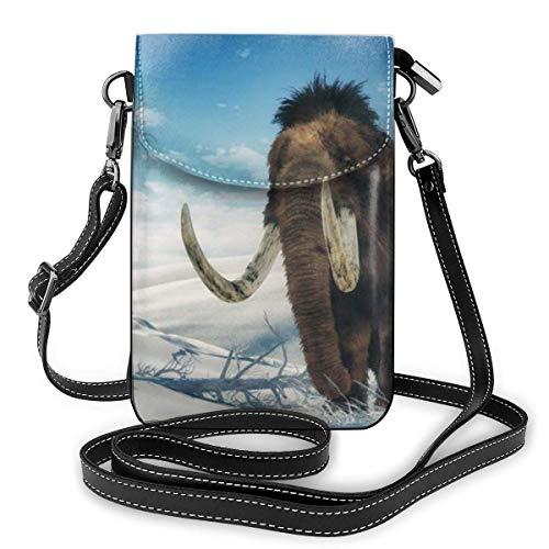 Mammoth On Ice, Elegante, pequeño Monedero con Billetera móvil Cruzada, Bolso de Cuero de PU para teléfono móvil, Protector de Correa para el Hombro