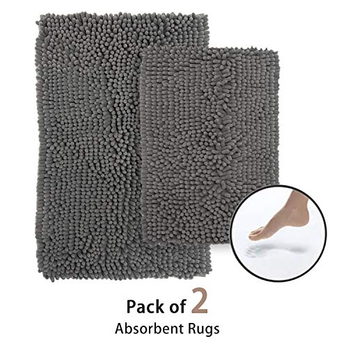 Bathroom Rugs, Non-Slip Bath Mats Set, 2pcs Soft Shaggy Microfiber Chenille Bath Rugs, Ultra Absorbent Thick Runner Carpet for Shower Tub Bedroom Kitchen, Machine Washable (32'x20'/24'x17', Gray)
