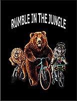 【FOX REPUBLIC】【熊 オオカミ ライオン 自転車】 黒マット紙(フレーム無し)A4サイズ