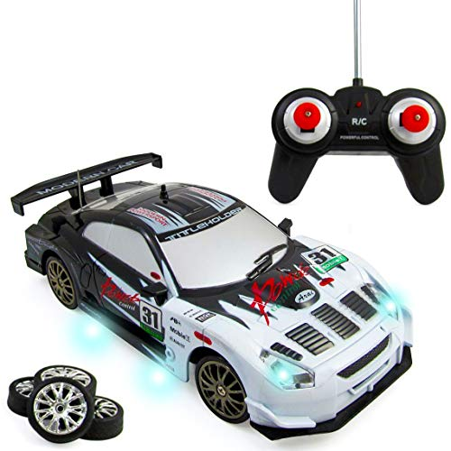 Liberty Imports Super Fast Drift King R/C Sports Racing Car Remote Control Drifting Race Car 1:24 + Headlights, Backlights, Side Lights + 2 Sets of Tires