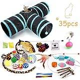 FYManny 35 Stück Katzenspielzeug Set mit Katzentunnel Bälle Federspielzeug Katzen Spielzeug Variety Pack