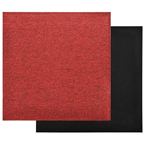 Pissente Juego de 20 baldosas impermeables para suelo de moqueta, 50 x 50 cm, antiestáticas, antideslizantes, para casa, oficina, apartamento, color rojo