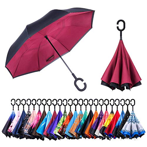 Newsight Reverse Umbrella, Double Layer Inverted Umbrella Upside Down, Self Stand, C Shape Handle, Inverse Inside Out Folding for Car, Windproof, Waterproof, Sun Protective (Red of Wine)