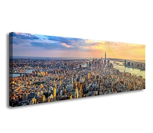 bestpricepictures 120 x 40 cm Bild auf Leinwand New York Panorama Skyline 5735-SCT deutsche Marke und Lager - Die Bilder/das Wandbild/der Kunstdruck ist fertig gerahmt