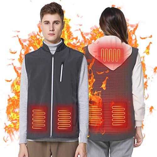 Keymao Chaleco Térmico , ropa con calefacción alimentada por USB, Chaleco con calefacción de invierno, Chaleco lavable de invierno cálido con temperatura ajustable de 3 niveles.