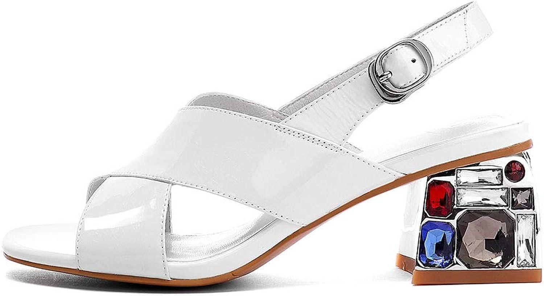 Verocara Women's Mid Block Rhinestone Heel Intercross Genuine Leather Adjustable Strap Summer Sandal shoes